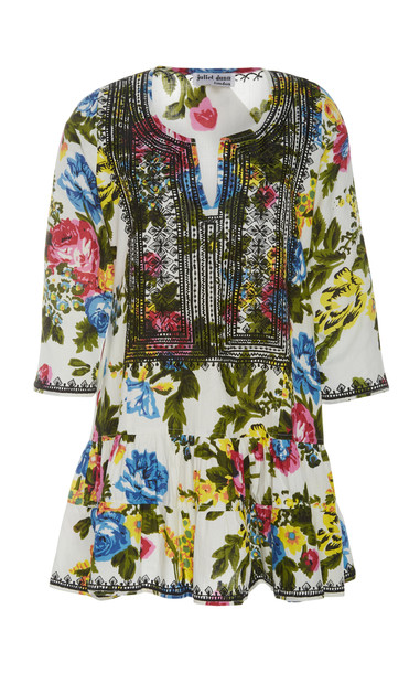 Juliet Dunn Embroidered Floral-Print Cotton-Twill Mini Dress Size: 3