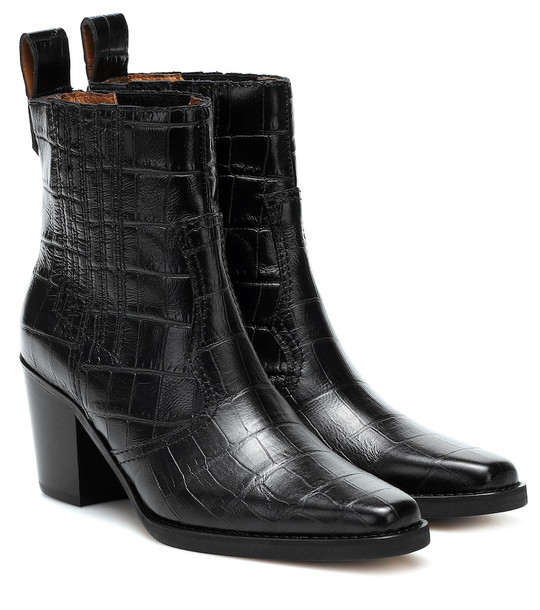 Ganni Western leather ankle boots in black