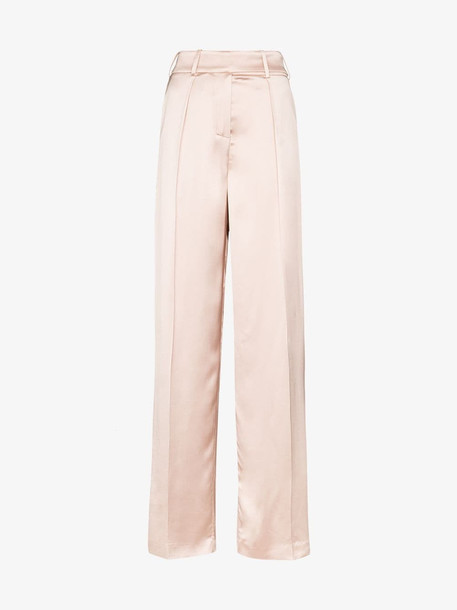 Alexandre Vauthier Wide leg satin trousers in pink