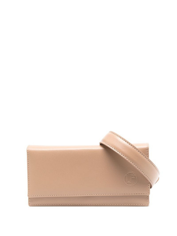 Linda Farrow embossed-logo leather belt bag in neutrals