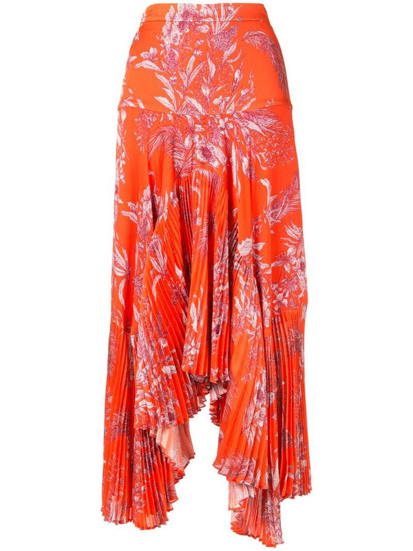 Alexis Tarou floral asymmetric pleated skirt in orange