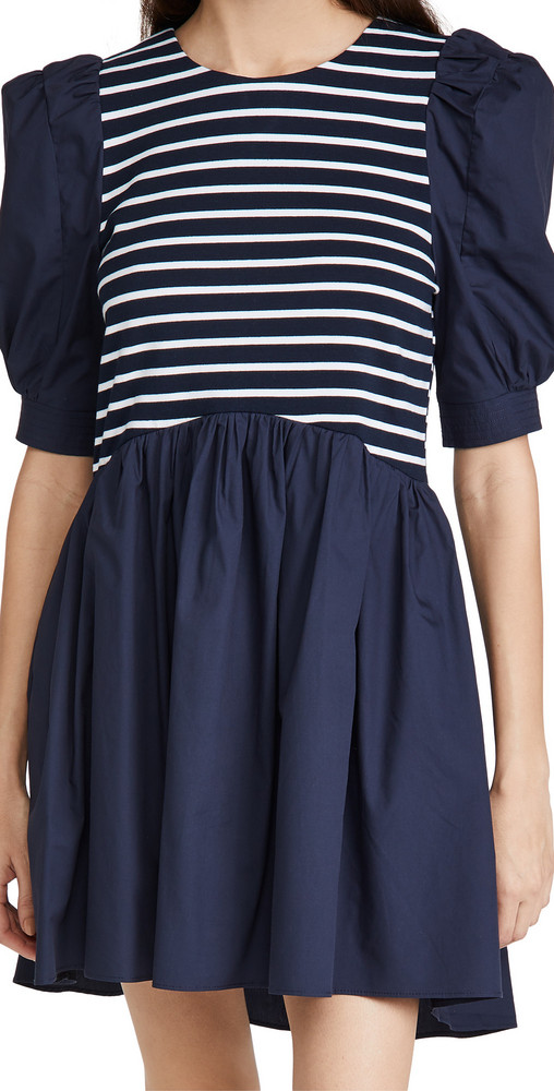 ENGLISH FACTORY High Low Knit Combo Dress in navy