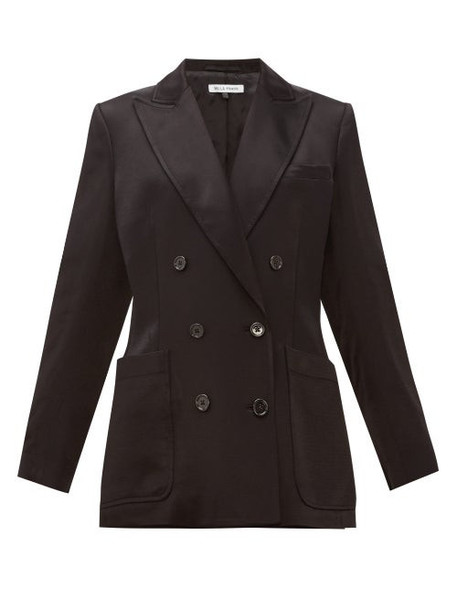 Bella Freud - Bianca Herringbone-satin Tailored Jacket - Womens - Black