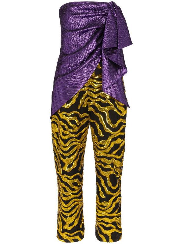 Halpern multi-textured jumpsuit in purple