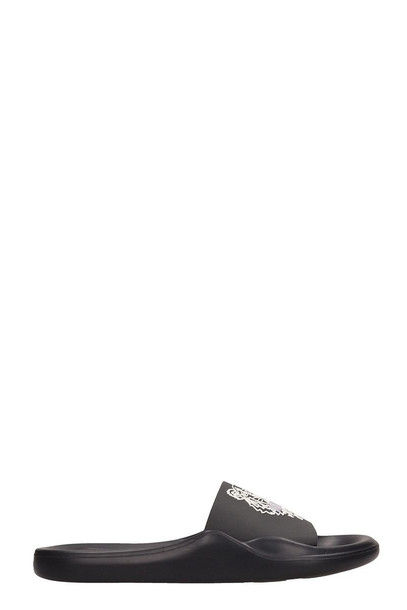 Kenzo Black Rubber Flat Tiger Sandals