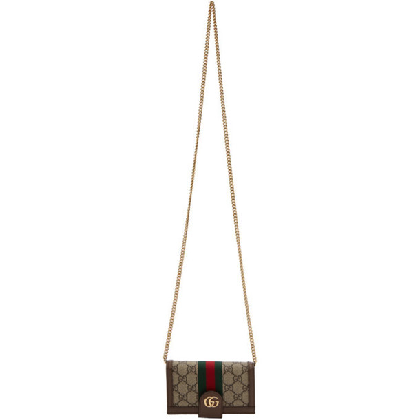 Gucci Brown GG Supreme Ophidia Phone Wallet Bag