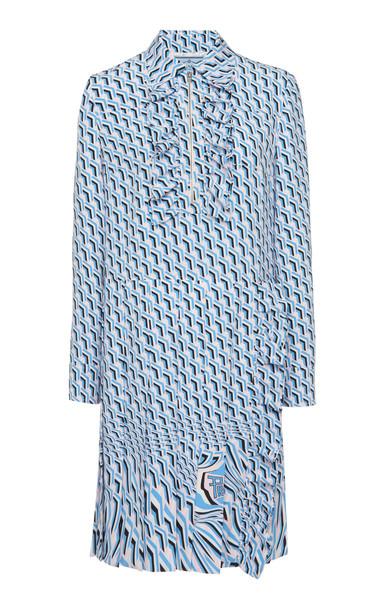 Prada Ruffled Poplin Shirt Dress Size: 36