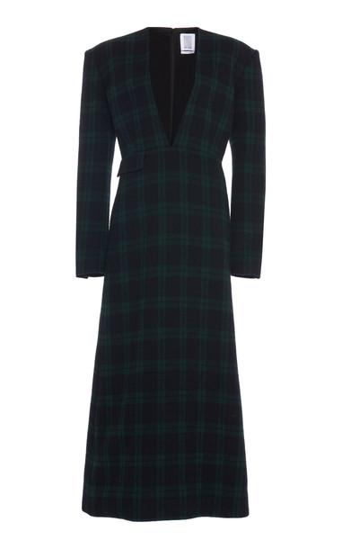Rosie Assoulin Plaid Wool-Blend Maxi Dress