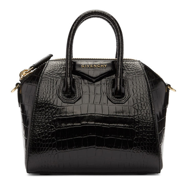 Givenchy Black Croc Mini Antigona Bag