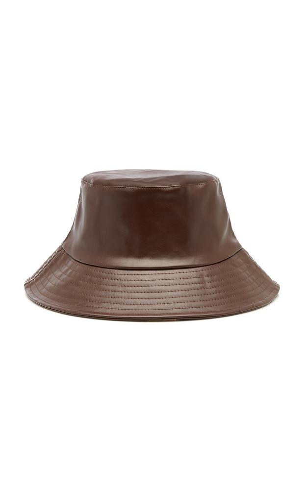 Avenue Lotti Faux Leather Bucket Hat in brown