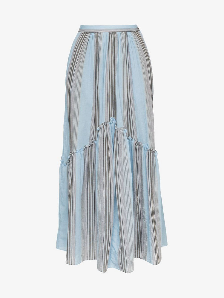 Three Graces lelia marari stripe skirt in blue