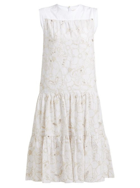 See By Chloé See By Chloé - Tiered Floral Broderie Anglaise Cotton Midi Dress - Womens - White