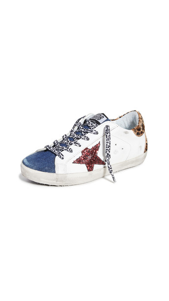 Golden Goose Superstar Sneakers in blue / brown / red / white