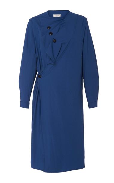 Sea Ruffled Wrap-Effect Cotton Dress Size: 12 in blue