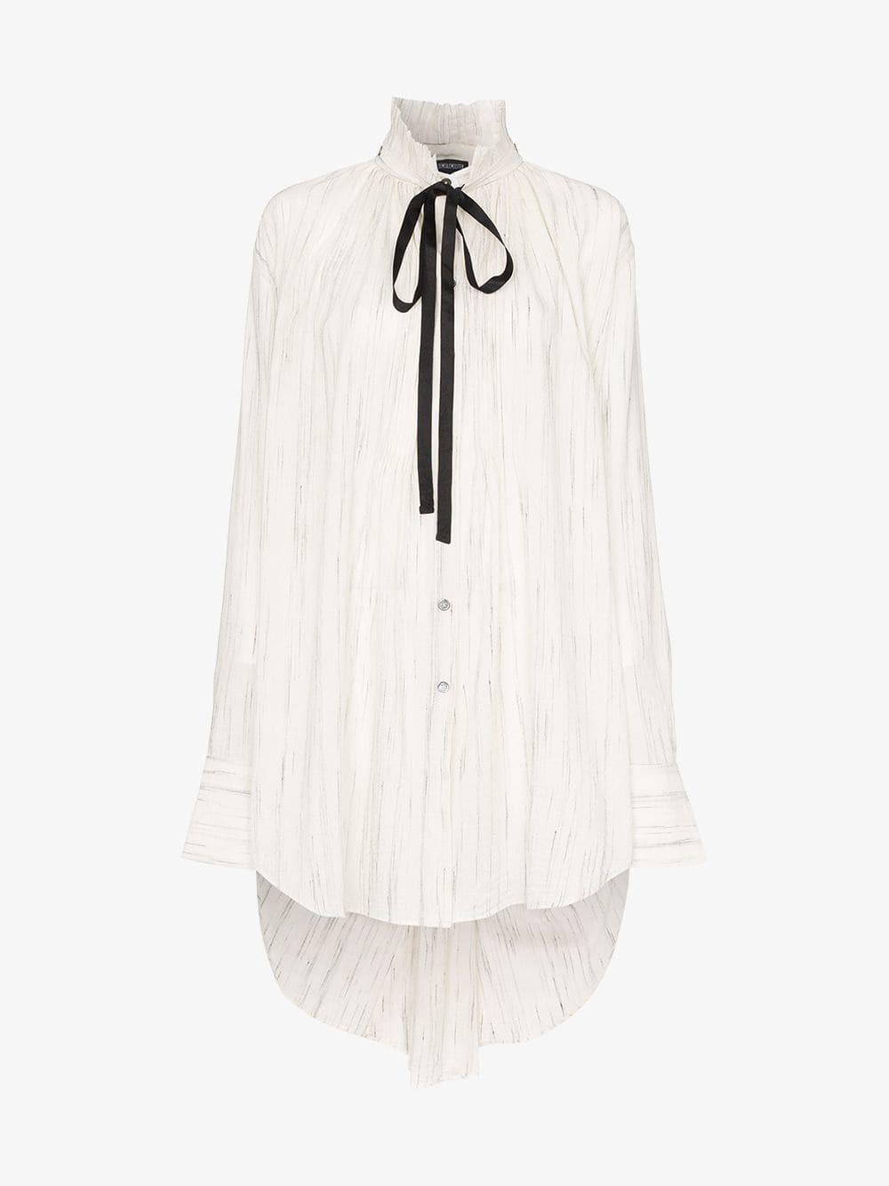 Ann Demeulemeester Ruff neck button down long back shirt in neutrals