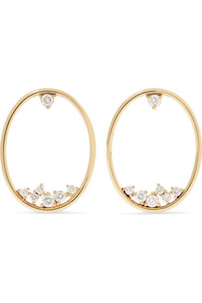 Mizuki - 14-karat Gold Diamond Hoop Earrings