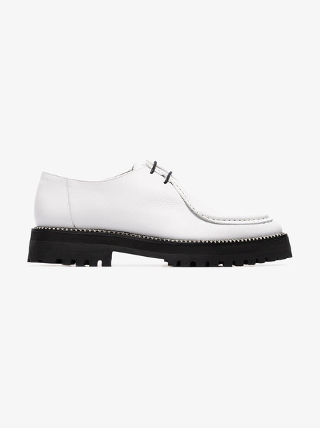 Marques'Almeida white chunky heel leather brogues