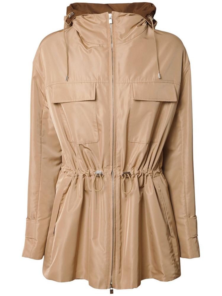LORO PIANA Technical Silk Parka Hooded Coat in beige