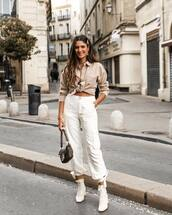 pants,cargo pants,white pants,high waisted pants,white boots,ankle boots,fendi,bag,shirt