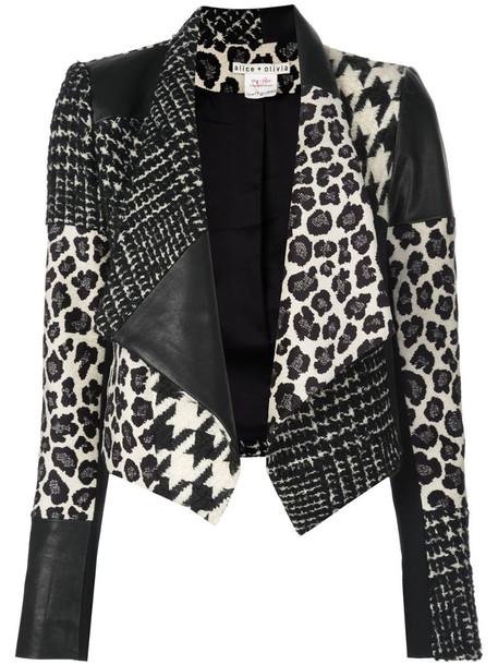 Alice+Olivia Harvey patchwork jacket in black