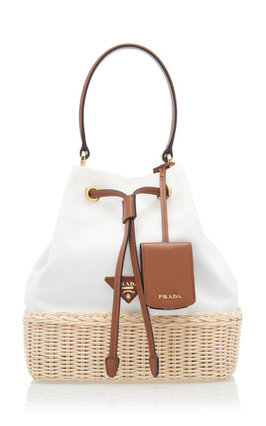 Prada Small Leather-Trimmed Raffia and Canvas Bucket Bag in white