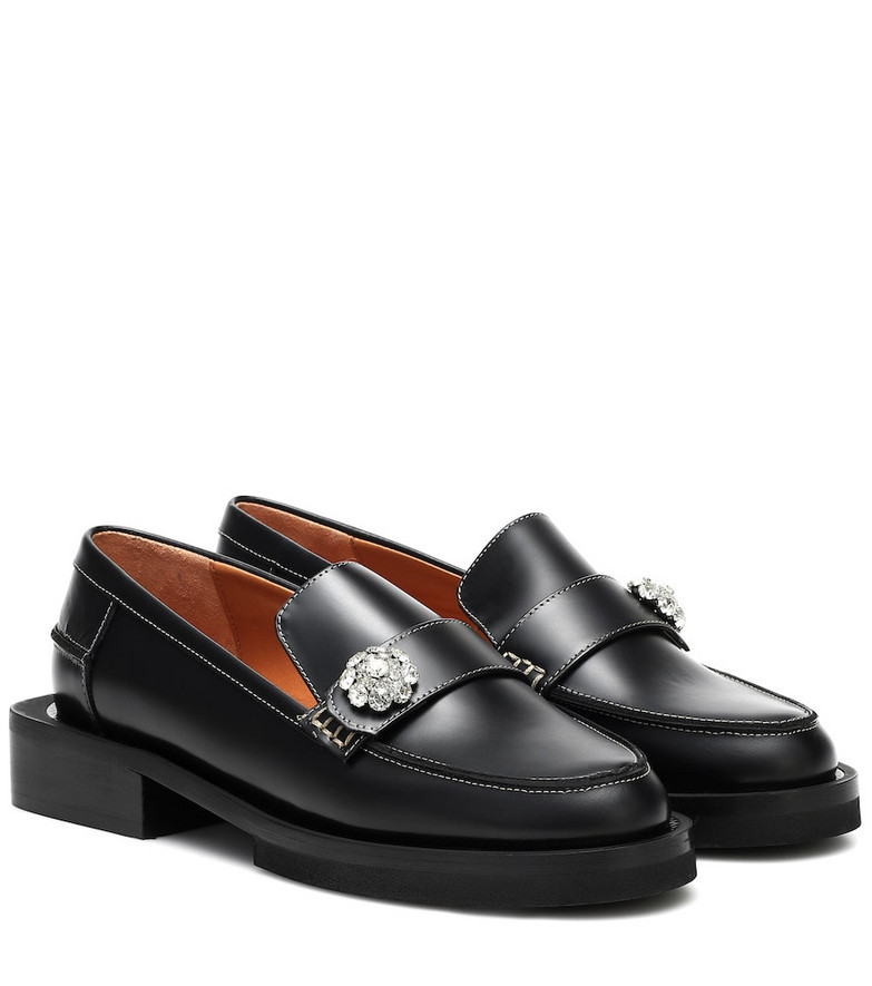 Ganni Jewel leather loafers in black