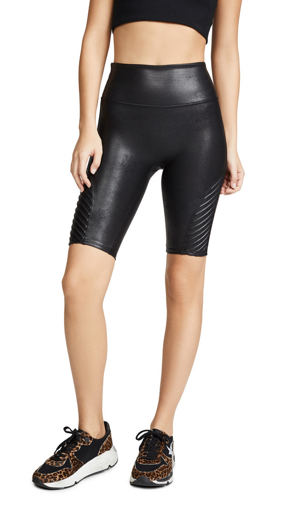 SPANX Faux Leather Moto Shorts in black