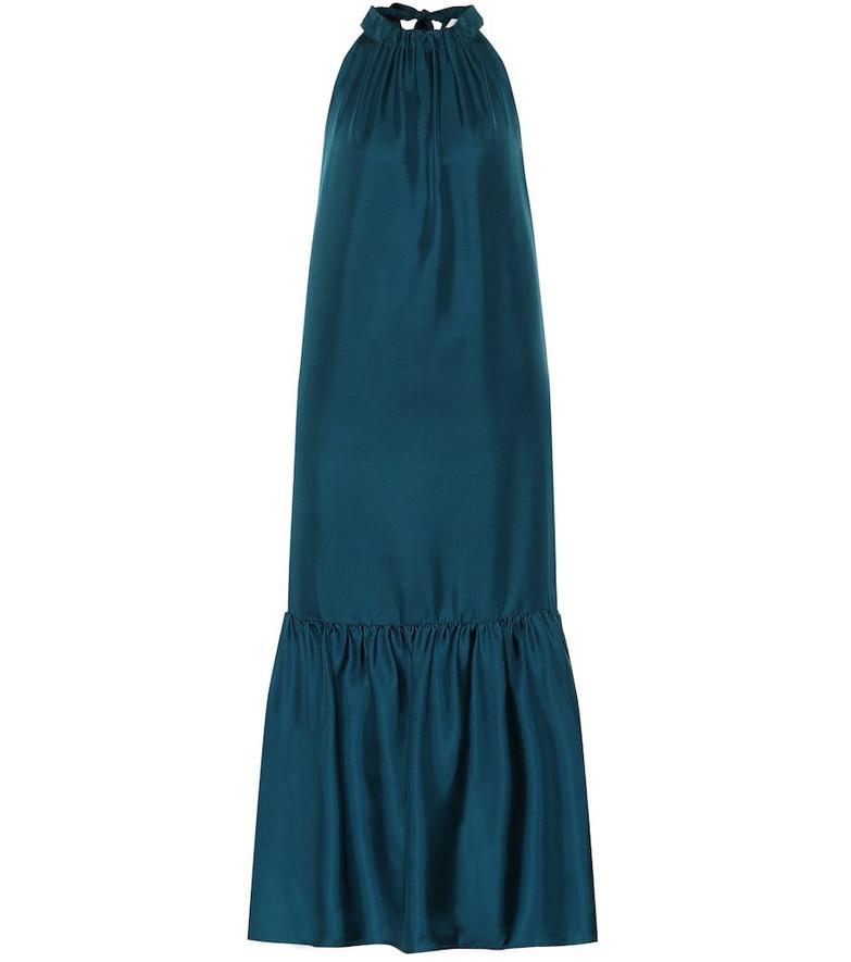 Asceno Ibiza silk maxi dress in blue