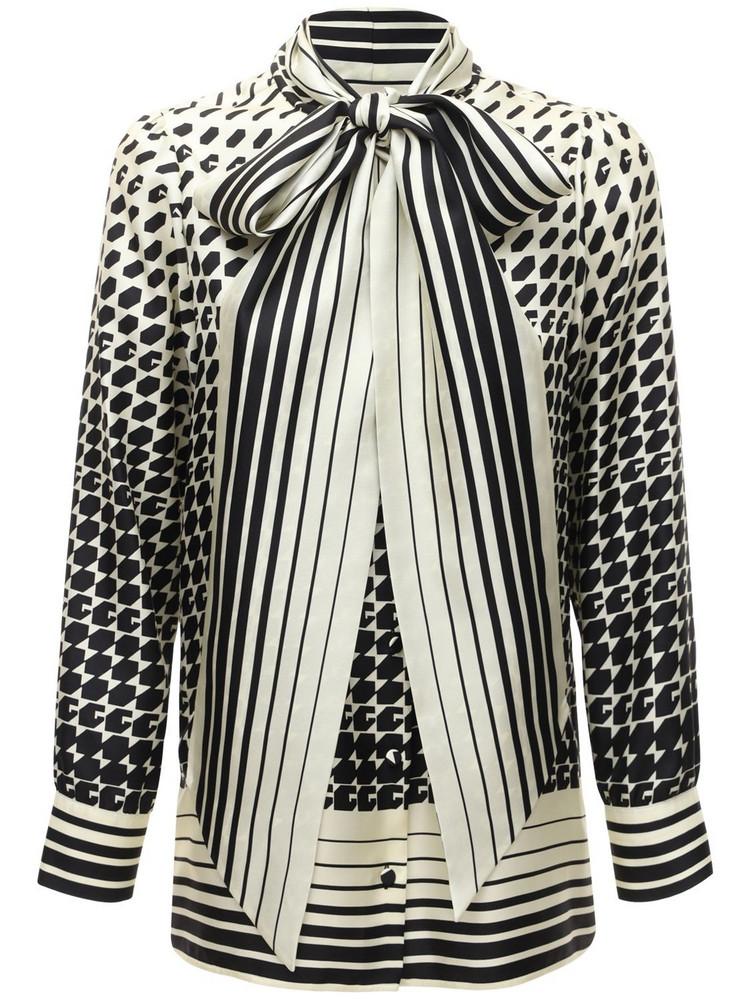 GUCCI Geometric Print Shirt W/ Self Tie Bow in black / multi