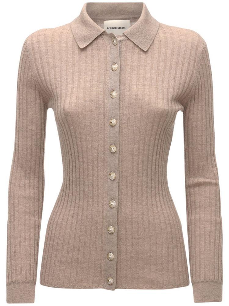 LOULOU STUDIO Sulug Wool Blend Knit Cardigan Top in beige