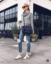 sweater,turtleneck sweater,white sneakers,cropped jeans,ripped jeans,black bag,crossbody bag