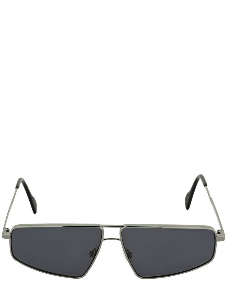 ANDY WOLF Sterling Squared Metal Sunglasses in grey / silver