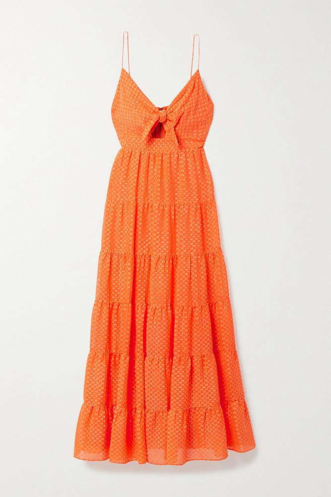 ALICE + OLIVIA ALICE + OLIVIA - Minka Cutout Tiered Fil Coupé Chiffon Maxi Dress - Orange