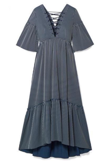 La Ligne - La Bohème Lace-up Striped Cotton-blend Maxi Dress - Navy