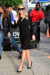 dress,black dress,midi dress,reese witherspoon,celebrity