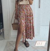 skirt,flowers,midi skirt