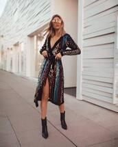 dress,midi dress,sequin dress,long sleeve dress,wrap dress,black boots,ankle boots,heel boots