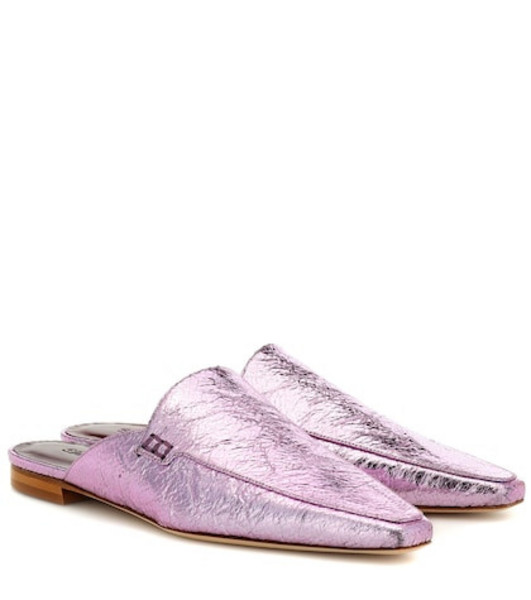 Sies Marjan Lia metallic leather slippers in pink