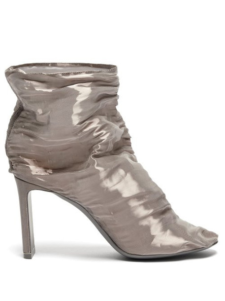 Nicholas Kirkwood - D'arcy Gathered Metallic Tulle Boots - Womens - Silver