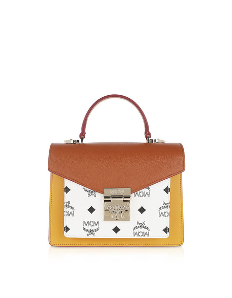 Mcm Patricia Visetos Leather Block Small Satchel in brown / white