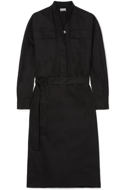 Co - Belted Twill Midi Dress - Black