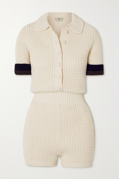 FENDI - Striped Knitted Playsuit - White