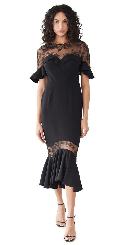 Marchesa Notte Crepe Lace Flutter Sleeve Midi Dress in black