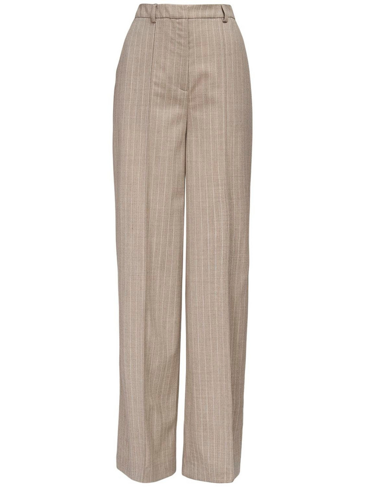 LOULOU STUDIO Sulana Wool Blend Wide Leg Pants in beige