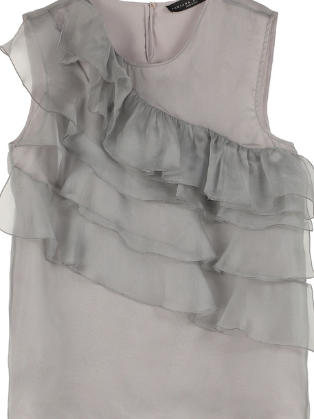 Fabiana Filippi Ruffled Organza Top in grey
