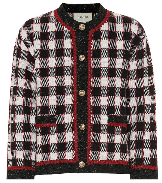 Gucci Checked wool cardigan in black