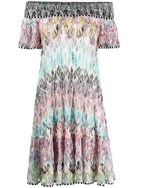 Missoni signature abstract print silk-blend dress in blue