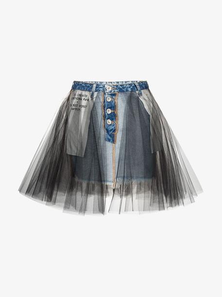 Unravel Project Tulle overlay denim skirt