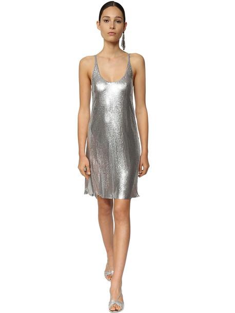 PACO RABANNE Metal Mesh Mini Dress W/ Slits in silver