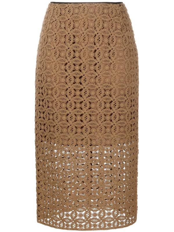 Dorothee Schumacher Bold Statement crochet midi skirt in brown